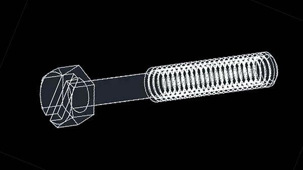 autocad katı model örneği civata