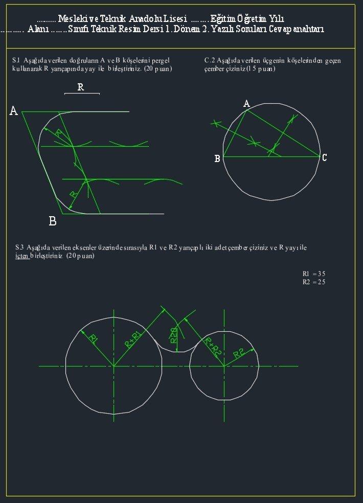 teknik resim sınavı cevapları