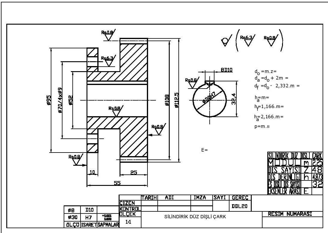 Silindirik düz dişli yapım resmi Autocad çizimi indir
