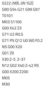 Cnc örnek programlar G71