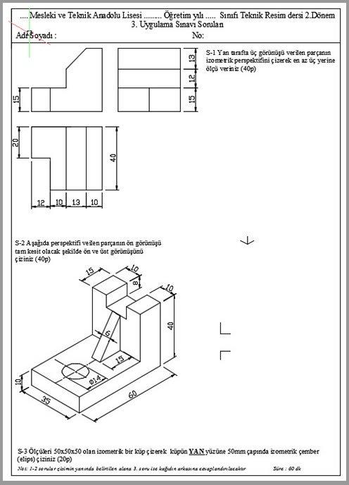 teknik resim sınav sorusu