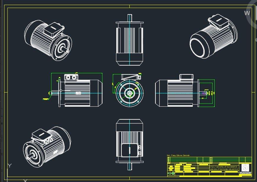 autocad örnek çizimler 2 elektrik motoru hazır çizim
