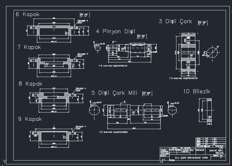 dişli çark mekanizması projesi antetli yapım resmi autocad çizimi