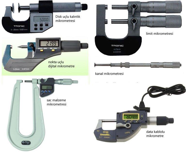 mikrometre çeşitleri özel mikrometreler