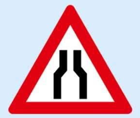 iki taraftan daralan kaplama trafik işareti