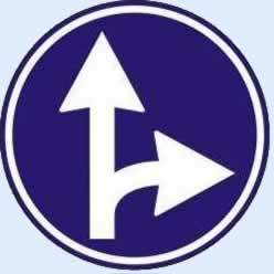 ileri ve sağa mecburi yön tabelası
