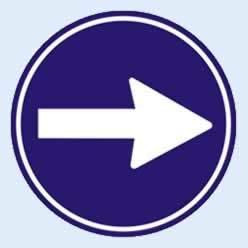 sağa mecburi yön trafik levhası