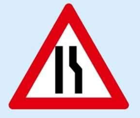 sağdan daralan kaplama işareti