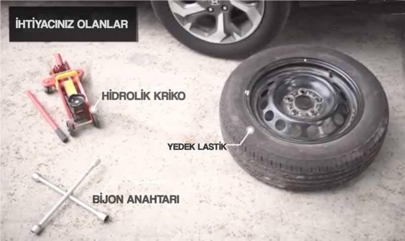 araç lastiği değiştirme gereken malzemeler