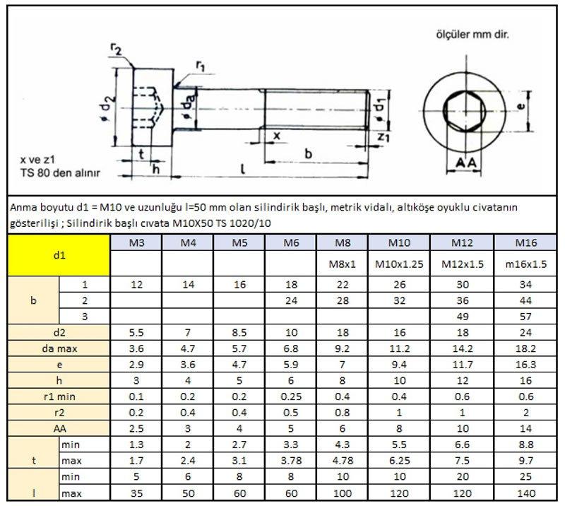 Silindirik başlı, altı köşe oyuklu standard metrik clvata (TS 1020/10)
