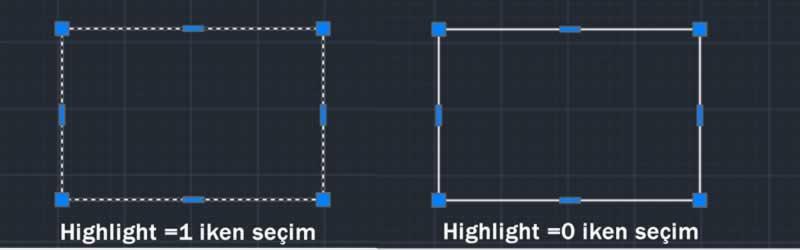 Autocad kasma sorunu için highlight