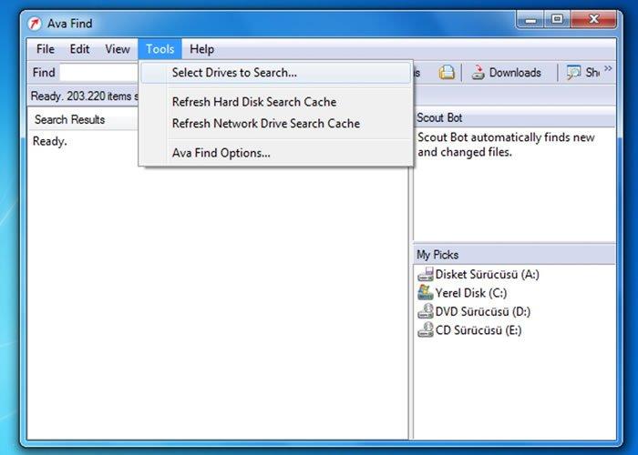 windows hızlı arama programı avafind