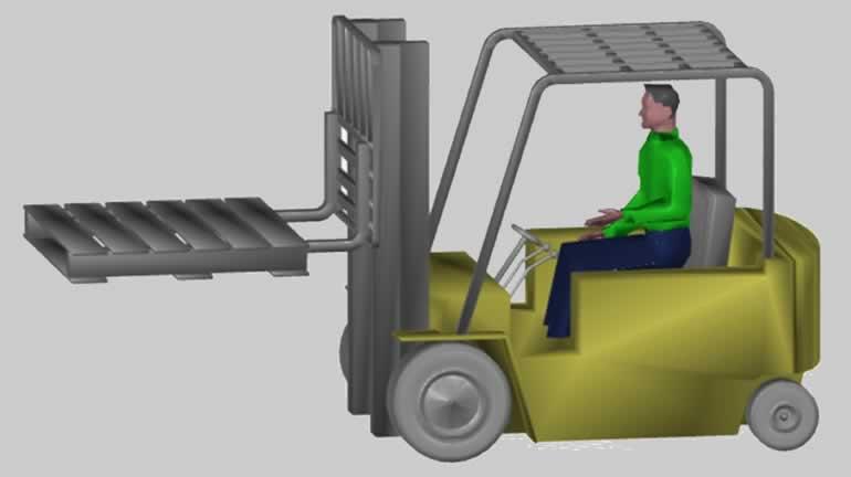 forklift ve işçi katı model dwg
