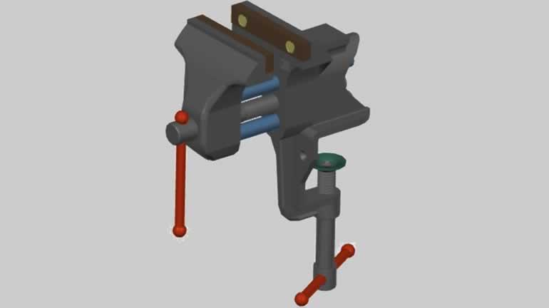 mengene autocad katı model dwg