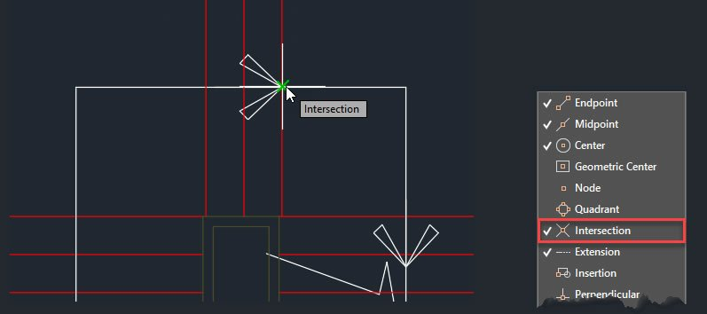 Autocad OSNAP intersection