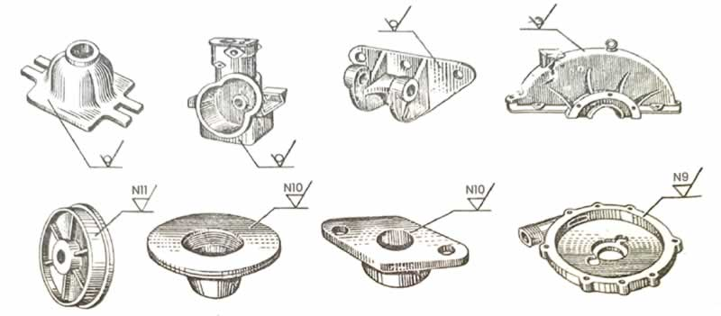 çeşitli makine parçalarının yüzey pürüzlülükleri örnekler