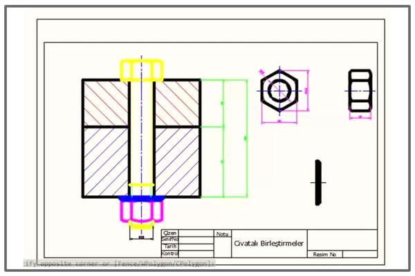 Civata ,somun ve rondela ile birleştirme Autocad çizimi