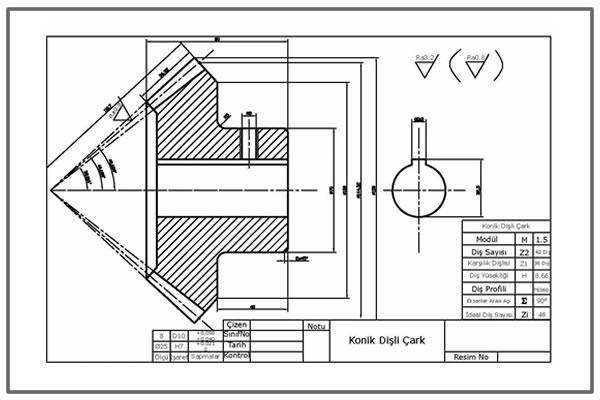 Konik dişli yapım resmi  Autocad DWG İNDİR