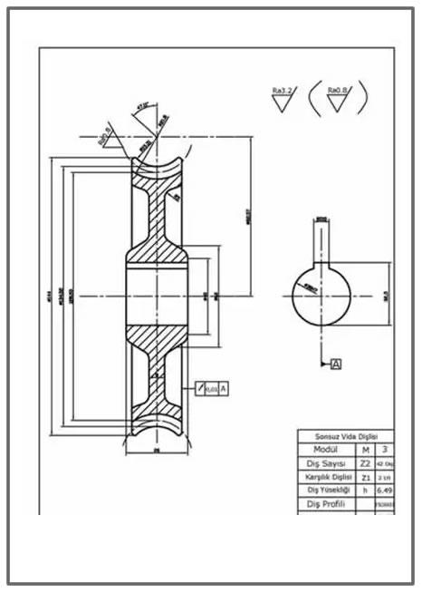 Sonsuz vida dişlisi yapım resmi  Autocad DWG çizimi İNDİR