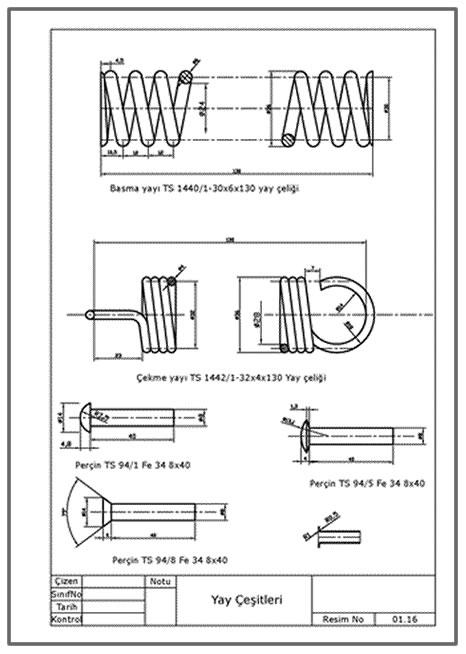 Yay çeşitleri ve perçinler  Autocad DWG dosyası İNDİR