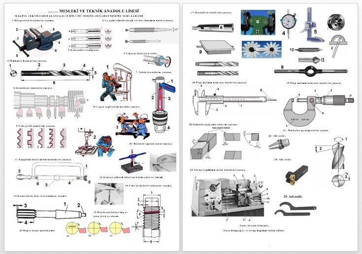 temel imalat işlemleri sınavı 1