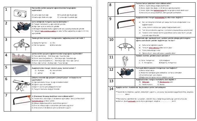 temel imalat işlemleri test soruları 4